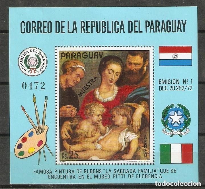 "PARAGUAY. 1972.""MUESTRA"". LA SAGRADA FAMILIA. RUBENS. ARTE. PINTURA. (Sellos - Extranjero - América - Paraguay)"