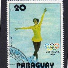 Sellos: AMÉRICA. PARAGUAY. LEEUW. JUEGOS DE INVIERNO PALACIO LAKE 1980 . YT1740. USADO SIN CHARNELA. Lote 253193150