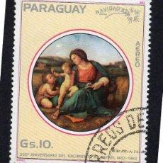 Sellos: AMÉRICA. PARAGUAY. R. MADONNA D'ALBA. MIGUEL ÁNGEL. YTPA916. USADO SIN CHARNELA. Lote 253194315
