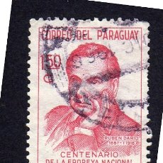 Sellos: AMÉRICA. PARAGUAY, CENTENARIO EPOPEYA NACIONAL. RUBEN DARIO. YT849. USADO SIN CHARNELA. Lote 253194660