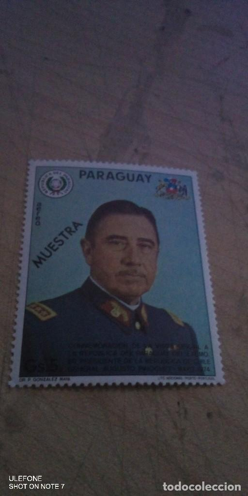 PARAGUAY CORREO AEREO SELLO MUESTRA DEL GENERAL AUGUSTO PINOCHET 1974 (Sellos - Extranjero - América - Paraguay)