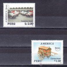 Sellos: PERU 1054/5 SIN CHARNELA, TEMA UPAEP, VEHICULOS DE TRANSPORTE POSTAL,. Lote 49978956