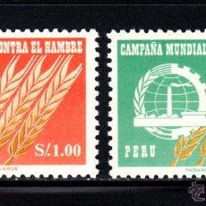 Sellos: PERÚ 464 Y AÉREO 189** - AÑO 1963 - CAMPAÑA MUNDIAL CONTRA EL HAMBRE. Lote 48762472