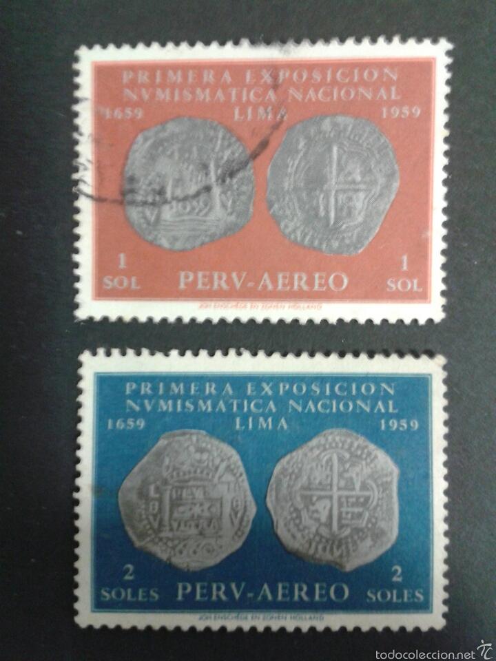SELLOS DE PERÚ. NUMISNÁTICA. MONEDAS. YVERT A-160/1. SERIE COMPLETA USADA. (Sellos - Extranjero - América - Perú)