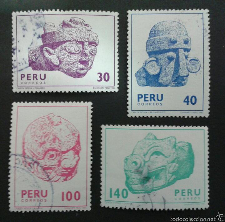 SELLOS DE PERÚ. YVERT 695/8. SERIE COMPLETA USADA. ARQUEOLOGÍA. (Sellos - Extranjero - América - Perú)