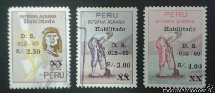 SELLOS DE PERÚ. AGRICULTURA. YVERT 496/8. SERIE COMPLETA USADA. (Sellos - Extranjero - América - Perú)