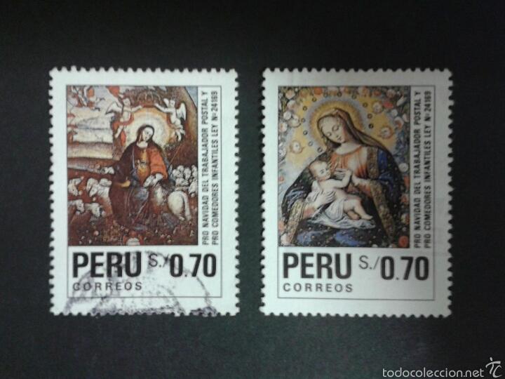 SELLOS DE PERÚ. NAVIDAD. YVERT 956/7. SERIE COMPLETA USADA. (Sellos - Extranjero - América - Perú)