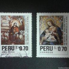 Sellos: SELLOS DE PERÚ. NAVIDAD. YVERT 956/7. SERIE COMPLETA USADA.. Lote 55161869