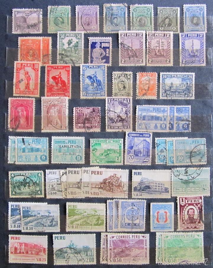 330 SELLOS USADOS + 13 SELLOS NUEVOS PERÚ (Sellos - Extranjero - América - Perú)