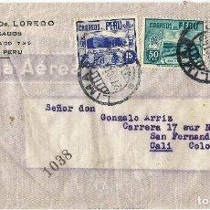 Sellos: PERU 1943 CORREO AEREO CARTA COMERCIAL VOLADA DEL PERU A COLOMBIA. CANCELACION DE DOBLE CIRCULO Y PU. Lote 61572532