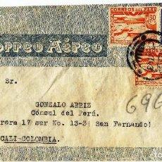 Sellos: PERU 1943 CORREO AEREO CARTA VOLADA DEL PERU A COLOMBIA. Lote 61572568
