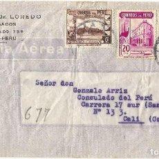 Sellos: PERU 1943 HISTORIA CARTA COMERCIAL VOLADA DEL PERU A COLOMBIA. CANCELACION DE DOBLE CIRCULO . Lote 61572656