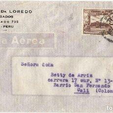 Sellos: PERU CORREO AEREO 1944 CARTA COMERCIAL VOLADA DEL PERU A COLOMBIA. CANCELACION DE DOBLE CIRCULO . Lote 61572948