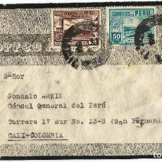 Sellos: PERU CORREO AEREO 1944 CARTA DE LUTO VOLADA DEL PERU A COLOMBIA. Lote 61572988