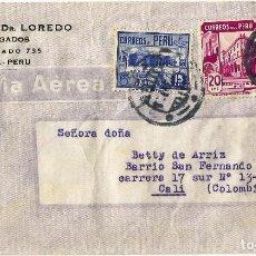 Sellos: PERU CORREO AEREO 1944 SOBRE COMERCIAL VOLADO DEL PERU A COLOMBIA.. Lote 61573232