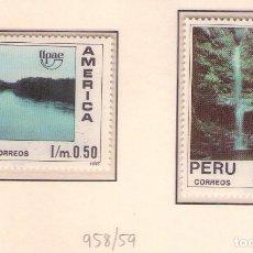 Sellos: PERU 958/59 UPAEP 1990 MANGLARES Y CATARATAS. Lote 133485814