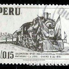 Sellos: PERÚ SCOTT: 0460-(1953) (LOCOMOTORA DE VAPOR. INAUGURACION DEL FFCC MATARANI-LA JOYA) USADO. Lote 191650231