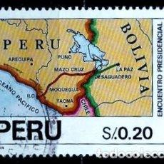 Sellos: PERÚ SCOTT: 1018-(1992) (ENCUENTRO PRESIDENCIAL BOLIVIA-PERÚ EN ILO) USADO. Lote 206566265