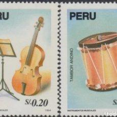 Selos: PERÚ N°1035A/36A MNH, INSTRUMENTOS MUSICALES TRADICIONALES 1994 (FOTOGRAFÍA REAL). Lote 199666940
