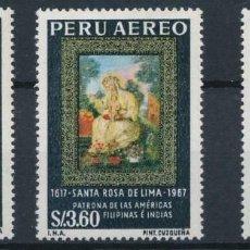 Sellos: PERU 1967 AEREO IVERT 214/6 *** 350º ANIVERSARIO DE LA MUERTE DE SANTA ROSA DE LIMA. Lote 203274836