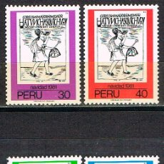 Sellos: PERU Nº 1182/4, NAVIDAD 1981, MENSAJERO INCA, NUEVO *** SERIE CORTA. Lote 210456212