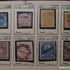 Sellos: HOJA CON SELLOS DE PERU -1 PESETA 1858- -UN DINERO 1860- MAS.. Lote 234843085