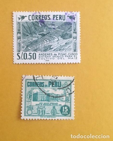 2 SELLOS USADOS PERU, AÑOS 50 (Sellos - Extranjero - América - Perú)