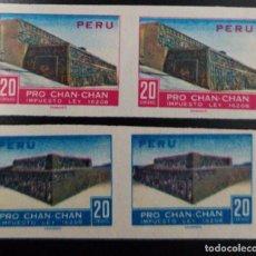 Sellos: O) 1967 PERU, PAR IMPERFORADA, PATRIMONIO CULTURAL DE LA HUMANIDAD ARQUEOLOGIA, CHAN CHAN - CULTURA. Lote 236025350