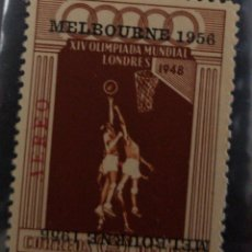 Sellos: O) 1948 PERÚ, INVERTIDO, JUEGOS OLÍMPICOS CELEBRADOS EN WEMBLEY SOBREIMPRESO MELBOURNE 1956, JUGADO. Lote 236030090