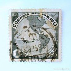 Sellos: SELLO POSTAL PERÚ 1937, 1 S, AEROPLANO SOBRE MAPA DE AMERICAS, CONFERENCIA INT. DE AVIACION, USADO. Lote 237031830