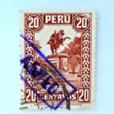 Sellos: SELLO POSTAL PERÚ 1933, 20 CTS, MONUMENTO A SIMON BOLIVAR EN LIMA, USADO. Lote 237032130