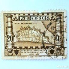 Sellos: SELLO POSTAL PERÚ 1936, 20 CTS, CALLAO AMURALLADO 1746,1ER CENTENARIO POLITICO CALLAO, USADO. Lote 237032620