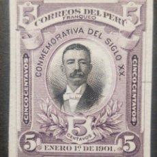 Sellos: O) 1901 PERÚ, PAPEL INDIA PRUEBA DE DADO, EDUARDO LOPEZ DE LA ROMAÑA, AMERICAN BANK NOTE, GUERRA DEL. Lote 237371550