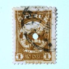Sellos: SELLO POSTAL PERÚ 1931, 1 S, LA LLAMA, USADO. Lote 237393070