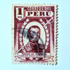 Sellos: SELLO POSTAL PERÚ 1938, 1 S, GENERAL TORIBIO DE LUZURIAGA, USADO. Lote 237393950