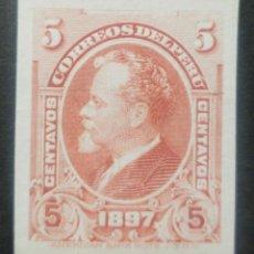 Sellos: O) 1897 PERÚ, PRUEBA DE DADO, PAPEL DE LA INDIA, PRESIDENTE NICOLAS DE PIEROLA, AMERICAN BANK NOTE,. Lote 237400685