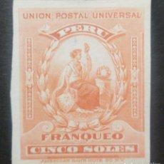Sellos: O) 1899 PERÚ, PRUEBA DE DADO, PAPEL DE INDIA, LIBERTY, AMERICAN BANK NOTE, SCT 158 FRANQUEO 5S ROJO. Lote 237402055