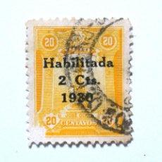Sellos: SELLO POSTAL PERÚ 1930, 2 CTS, MONUMENTO JOSÉ OLAYA, OVEPRINT HABILITADO 1930 USADO. Lote 237579150