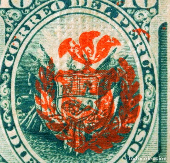 Sellos: SELLO POSTAL PERÚ 1883, 10 cts, ESCUDO DE ARMAS RAREZA OVERPRINT ESCUDO ROJO SOBRE, SIN USAR - Foto 2 - 237583665