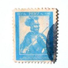 Sellos: SELLO POSTAL PERÚ 1943, 80 CT, 400 ANIV. DESC. AMAZONAS, GONZALO PIZARRO, CONMEMORATIVO, USADO. Lote 240693715