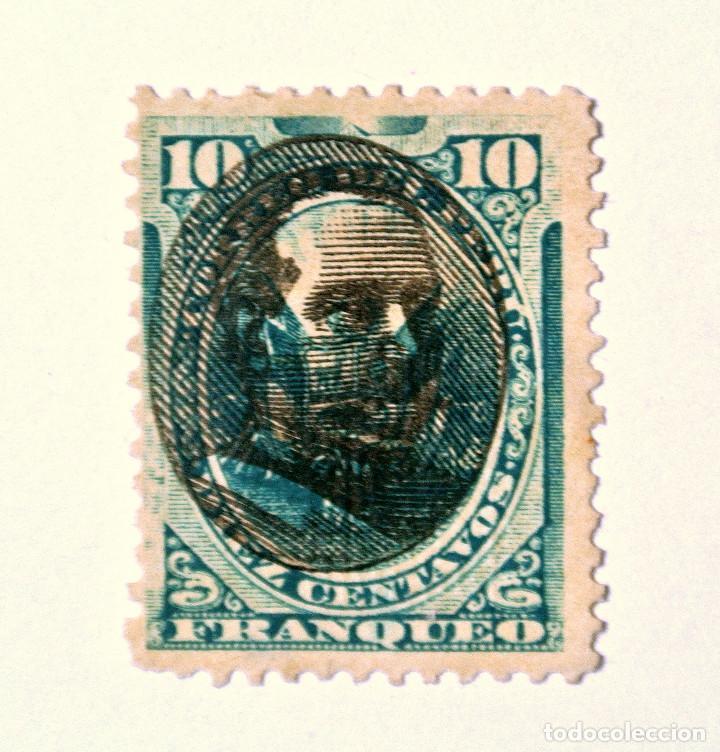 SELLO POSTAL PERÚ 1894, 10 CT, OVPT. REMIGIO MORALES BERMUDEZ SOBRE ESCUDO DE ARMAS, USADO (Sellos - Extranjero - América - Perú)