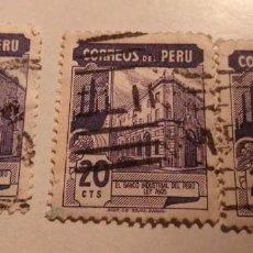 Sellos: 3 SELLOS DE PERU 20 CTS EL BANCO CENTRAL DEL PERU LEY 7695 SELLADOS. Lote 244187035