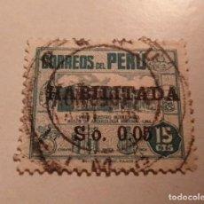 Sellos: SELLO DE PERU 15 CTS S/.0.05 HABILITADA MUSEO ARQUEOLOGIA NACIONAL DE LIMA SELLADO. Lote 244193235