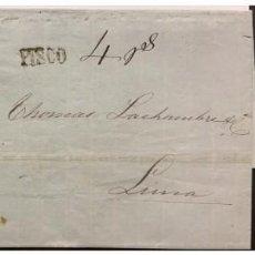 Sellos: O) 1859 PERÚ, CANCELACIÓN DE PISCO EN NEGRO, NOTACIÓN MANUSCRITA USADA, FRAUDE POSTAL, 1 DINERO AZUL. Lote 244405450