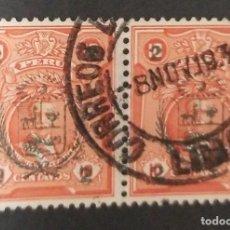 Sellos: O) 1930 PERÚ, ESCUDO DE ARMAS, 2C SOBRE 10C ORG. ROJO SOBRECARGADO SCT 269, BONITA CANCELACION, XF. Lote 244628845