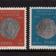 Sellos: PERU AEREO 160/61** - AÑO 1961 - TRICENTENARIO DE LA PRIMERA MONEDA PERUANA. Lote 245452655