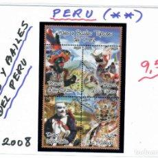 Sellos: HOJA BLOQUE CON TRAJES Y BAILES DEL PERU AÑO 2008. Lote 261904230