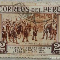 Selos: 1935. PERÚ. 303. 400 AÑOS DE LA FUNDACIÓN DE LIMA. FRANCISCO PIZARRO, CONQUISTADOR. USADO.. Lote 267062939