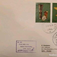 Sellos: O) 1973 PERÚ, ARQUEOLOGÍA, CULTURA MOCHICA, CULTURA NAZCA, ESCULTURAS EN ORO, VUELO INAUGURAL LIMA Q. Lote 274611883