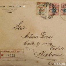 Sellos: O) 1916 PERÚ, FRANCISCO BOLOGNESI, GUERRA DEL PACÍFICO, SELLO DE RECARGO SOBRE IMPRESIÓN, ESCUDO DE. Lote 274643668